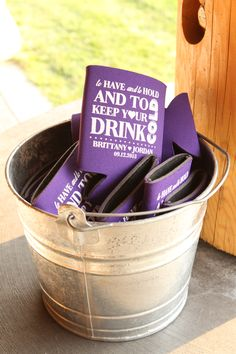 To have and to hold and to keep your drink cold --  beer cozies as a wedding favor!