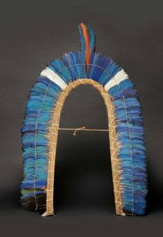 Brazil ~ State of Para | Large crown from the Kayapo Indians Mekrãgnoti | Blue, white and red macaw tail feathers, on a vegetable fiber arch | 1000€ ~ Sold