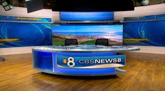 KFMB - San Diego, CA - News Sets Set Design - 1 Tv Set Design, Virtual Studio, Tv Sets, News Studio, Studio Design, New Set, Tvs, Desks, San Diego
