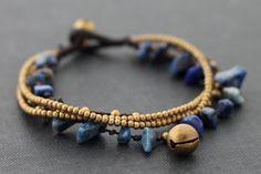 Lapis lazuli Brass Chain Charm Bracelet