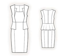 Custom sized sewing pattern for an elegant dress.  Sizes available: ladies sizes.  - - - - - - - - - - - - - - - - - - - - - - - - - - - - - - - - - - - - - - - - - - - - - - - - - - -  One pattern IN YOUR CUSTOM SIZE.  Please convo the following measurements:  - height  - bust girth  - chest girth (under bust)  - waist girth  - hip girth  The pattern can be provided either as a .PDF file in A4, or A3, or Letter, or Legal format, or as a .PLT file for immediate printout in real size…