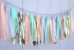 Peach, gold, mint and white tassel garland