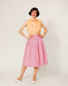 1960s Full Skirt 60s Skirt Primrose Garden by concettascloset