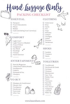 The holiday packing list: hand luggage (Stylemyday.nl) - The holiday packing list: hand luggage - Travel Packing Checklist, Travelling Tips, Packing Hacks, Packing Ideas, Vacation Checklist, Weekend Packing List, Beach Vacation Packing List, Packing Cubes, Camping Checklist