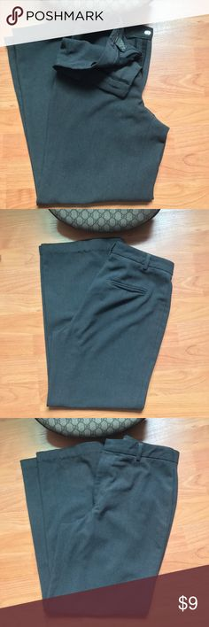 "BANANA REPUBLIC :| Women's Hemmed Dress Pants.4R. Brand: BANANA REPUBLIC. Women's Hemmed Stretch Dress Pants. Solid Dark Gray. 36"" from upper waistline to bottom of pant line. Size: 4R. Is now more or likely Petite. Good condition. Minimal signs of normal wear on fabric as seen in photos. No major flaw/defect/filter. Please refer to last picture for material. Banana Republic Pants Trousers"