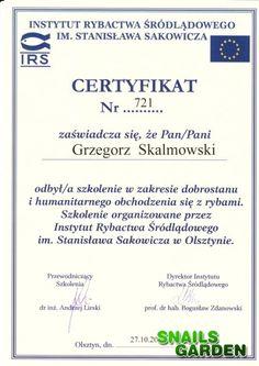 Wyróżnienia, Certyfikaty - Snails Garden