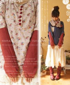 Layers, long skirts, loose shirts= kawaii