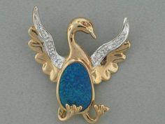 OPAL HOUSE 2013 14K GOLD CORMORANT BIRD PENDANT AUSTRALIAN BLACK OPAL & DIAMOND #OpalHouse #Pendant