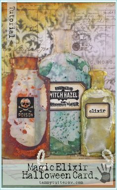 Tammy Tutterow Tutorial | Magic Elixir Halloween Card featuring Tim Holtz Frosted sheets and alcohol ink.