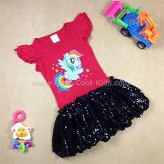 ชุดกระโปรงเด็กหญิง สีชมพู Pony ขนาด 4-- 6--