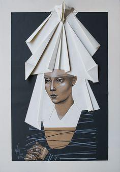 Vania Elettra Tam - Origami Clitoridei, falena, 2016, 70x50 cm. Tecnica mista su…