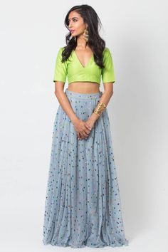 printed gray net skirt with double pleats. Sheer lime dupatta included Customization options: Blouse cut(Indicate preference in note section during checkout) Estimated shipping: weeksCare instructions: Dry clean only Crop Top Designs, Blouse Designs, Indian Wedding Outfits, Indian Outfits, Indian Attire, Indian Wear, Ethnic Fashion, Indian Fashion, Raw Silk Lehenga
