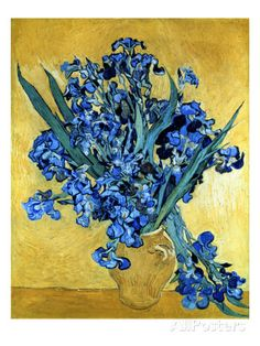 Vase of Irises Against a Yellow Background, c.1890 Lámina giclée