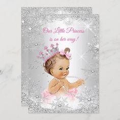 Invitación Princesa Baby Shower Rosa Silver Winderland