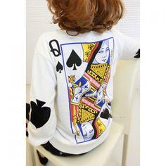Long Sleeves Round Neck Poker Pattern Print Fleece Women's Sweatshirt, WHITE, ONE SIZE in Sweatshirts & Hoodies | DressLily.com