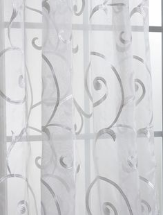 Bleuit White Embroidered Organza Sheer Curtains  Panels