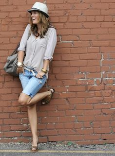 DIY bermuda shorts from old jeans. Style with a straw hat and neutrals.