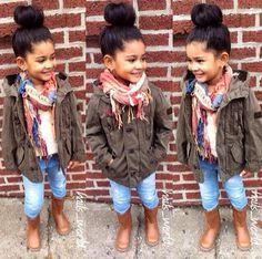 Cute, casual but #stylish #outfit for little girls! #MiniFashionista #BabyFashion #KidsFashion #Style #MilitaryJacket #FashionKids #Scarf....(outfit worn by the stylish #HailsWorld)