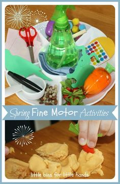Spring Fine Motor Mini Activity Tray Fun fine motor activities for kids to use at home. A spring themed activity tray that encourages kids to use their fine motor skills. You can practice using fine motor skills with these everyday items that you have at your home. Great activities for homeschooling and for kids who are home from school during social distancing.   #finemotorskills #activitiestray #springactivities