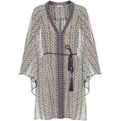 Talitha Iznik-print silk dress (1,810 BAM) ❤ liked on Polyvore featuring dresses, silk caftan, bell sleeve dress, silk kaftan dress, pattern dress and silk print dress