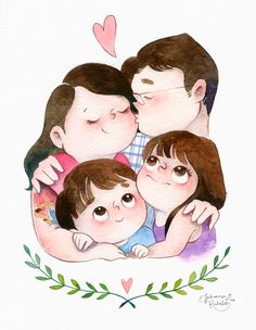cynthia-familia-f-julianarabelo-01 Art And Illustration, Illustrations, Character Illustration, Cartoon Kunst, Cartoon Art, Art Drawings Sketches, Cute Drawings, Cartoon Familie, Family Drawing