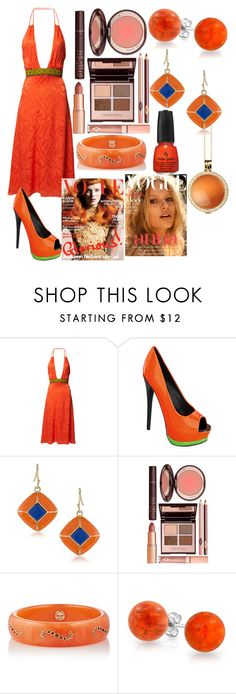 """""""Orange You Beautiful"""" by kee199905 ❤ liked on Polyvore featuring Matthew Williamson, Charlotte Tilbury, Mark Davis, Bling Jewelry and Lucet Mundi"""