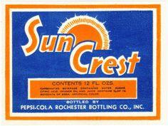 Old soda pop bottle label SUN CREST Pepsi Cola unused new old stock n-mint+