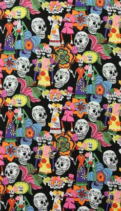 Los Novios Dias de los Muertos in Black Fabric Yard Cotton Crafts, Fabric Crafts, Sugar Skull Dress, Sugar Skulls, Black Cushion Covers, Alexander Henry Fabrics, Mexican Skulls, Kawaii, Day Of The Dead