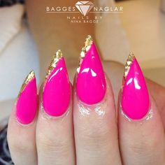 pink with gold glitter stiletto nails DopeGirl SAMMIE Get Nails, Love Nails, Pink Nails, Hair And Nails, Fabulous Nails, Gorgeous Nails, Pretty Nails, Nail Swag, French Nails