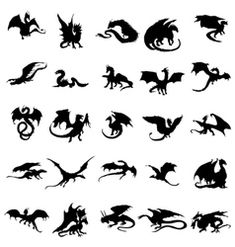 Silhouette Dragon Dragon Silhouettes Set Isolated On A White Background Royalty Free Silhouette Tattoos, Silhouette Dragon, Silhouette Art, Pretty Tattoos, Cute Tattoos, Unique Tattoos, Tattoos For Guys, Small Dragon Tattoos, Dragon Tattoo Designs