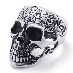 KONOV Bijoux Bague Homme - Tête de mort - Crâne Gothique Diable - Motard  Biker - 65a578dbed0