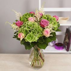 Hydrangea blooms are combined with sprays of astilbe, pink and blue roses for a subtle and delightful bouquet Hydrangea Bouquet, Hydrangea Not Blooming, Hydrangea Garden, Astilbe, Blue Roses, Pretty Flowers, Delivery, Cottage, Search