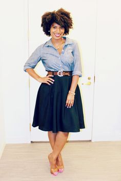 Old Navy Chambray Shirt with a full skirt. Loving this ensemble. Must recreate. Adorable look with thick hair.