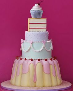 """Have your cake and eat it!""  Can't decide what kind of cake you want?  Have them all!  Cake themed tiered cake!"