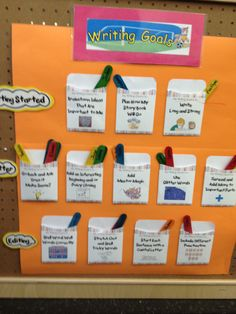 Writing Goals and a whole lot more! So many ideas easy to adapt to student needs.look here first. Kindergarten Writing, Teaching Writing, Writing Activities, Teaching Ideas, Writing Ideas, Literacy, Student Teaching, Physical Activities, Writing Goals Chart