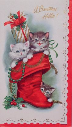 321 60s Kitty Cats in The Boot Vintage Christmas Card Greeting | eBay