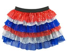 Patriotic Ruffle Sparkle Running Skirt. Perfect running skirt to use in costumes! This lightweight Sparkle Running Skirt will help you shine, whether you're running to win or just running for fun.