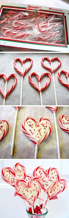 oven@300degreeOn a parchment lined baking sheet,set candy canes as hearts w. lollipop stick centered between2candy canes.Bake3min You want them to be malleable, but not melted. Remove from ovenshape candy canes into hearts by pinching the the bottom of the heart into the stick and pinching the top ends together.Melt candy coating in microwave@30 sec intervals on medium power, stir between heatings til smooth.