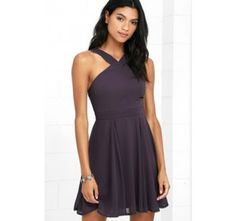 Forevermore Dusty Purple Skater Dress street style. ♥ Fashion inspiration Women apparel | Women's Clothes | Fashion | Style | Dresses | Outfits | #clothes #shoes #fashion #dresses #women #jeans #shop CollectiveStyles.com