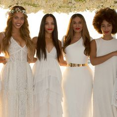Beyonce, Bianca Lawson, Tina Knowles & Solange Knowles at the wedding of Tina Knowles & Richard Lawson, April 12th 2015