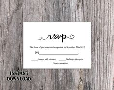 DIY Wedding RSVP Template Editable Word File Instant Download Heart Rsvp Template Printable RSVP Cards Black Rsvp Card Elegant Rsvp Card by TheDesignsEnchanted