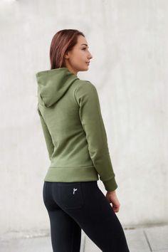 Khaki Majuscule hoodie from Famme Casual Wear, Custom Made, Hooded Jacket, Hoodies, Fitness, Fabric, Cotton, How To Wear, Jackets