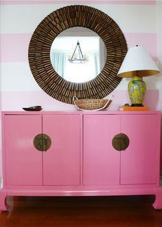 "Benjamin Moore ""pink popsicle"" (on the credenza)"