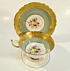 Paragon Tea Cup and Saucer Gold Guilt Sage Green Floral Signed Teacup Vintage Burgundy & Gold England by TreasureCoveAlly on Etsy Vintage Dishes, Vintage Tea, Tea Cup Saucer, Tea Cups, Tea And Crumpets, Royal Tea, Buy Tea, Cuppa Tea, High Tea