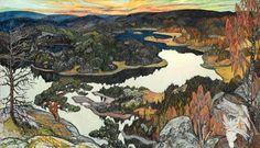 Höstafton, Nordingrå by Helmer Osslund Scandinavian Paintings, Scandinavian Art, Paintings I Love, Oil Paintings, Paul Gauguin, Global Art, Landscape Paintings, Landscapes, Art Market