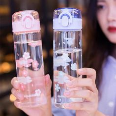 Cute Sakura Drinking Bottle #N5368 ●Size:380ml ●Material:ABS,High temperature boron glass  ●Process time: 2-3 business days●Shipping time: 10-15 business days to United States, 3-4 weeks to other country.●Exchange and Return: Normally, if we ship wrong or bad items, you can exchange or return freely. Trust us, we wil Cute Water Bottles, Glass Water Bottle, Voss Bottle, Drink Bottles, Girly Things, Cool Things To Buy, Kawaii Room, Cute School Supplies, Cute Room Decor