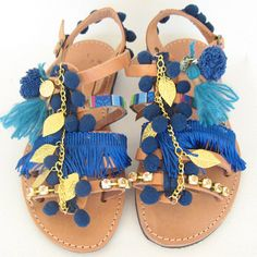Boho Sandals Leather Gladiator Sandals Womens gladiators sandales grecques sandales femme cuir fabrication artisanale  These blue boho gladiator sandals have perfectly placed strap loops to ensure a secure fit. The pompom sandals have very flattering fit.  *Ties at ankle *Handmade 100%