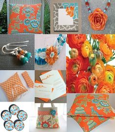 turquoise white and silver orange wedding (add pink) :D Love this, want it!
