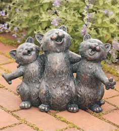 """Serenading Cats Garden Statue Dimensions:  13¾""""L x 4½""""W x 10""""H #GO7398; $29.99"""