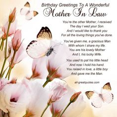 To celebrate her birthday, send her Happy Birthday Mother In Law Birthday Quotes. Here is a nice collection of happy birthday mother in law quotes. Birthday Greetings For Mother, Birthday Message For Mother, Birthday Wishes For Mother, Mother Day Wishes, Happy Birthday Mom, Best Birthday Wishes, Birthday Messages, Heaven Birthday, Free Birthday